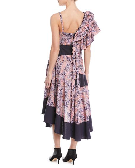 Asymmetric Ruffle-Shoulder Paisley-Print Cotton Maxi Dress