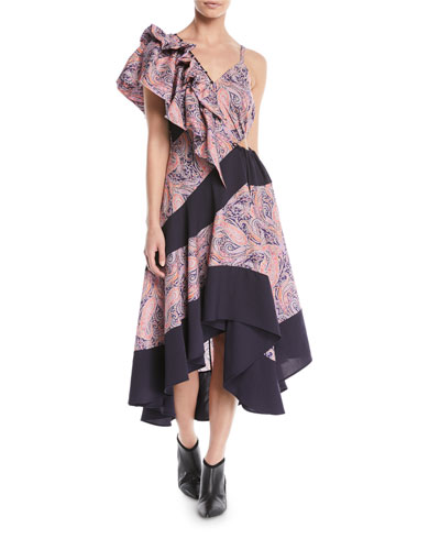 Asymmetric Ruffle-Shoulder Paisley-Print Cotton Maxi Dress