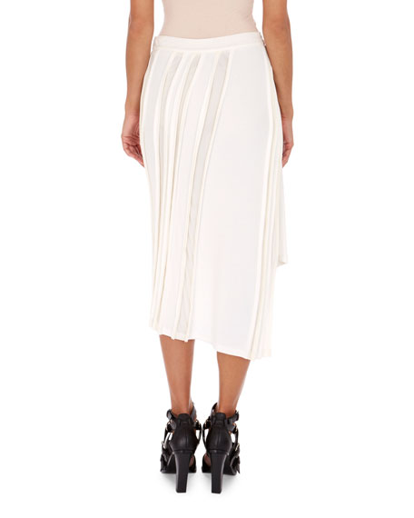 Sheer-Stripe Button Midi Skirt