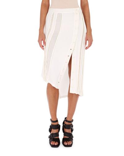Sheer-Stripe Button Midi Skirt