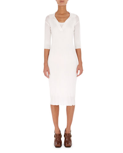 Knit Elbow-Sleeve Polo Dress