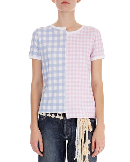 Asymmetric Gingham-Front T-Shirt