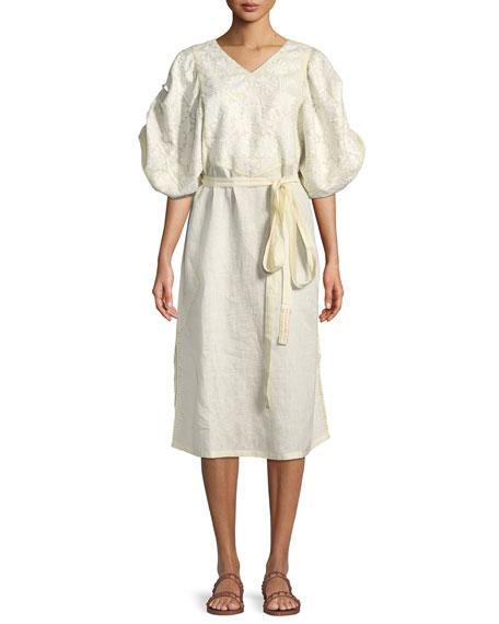 V-Neck Puff-Sleeve Embroidered Linen Midi Dress