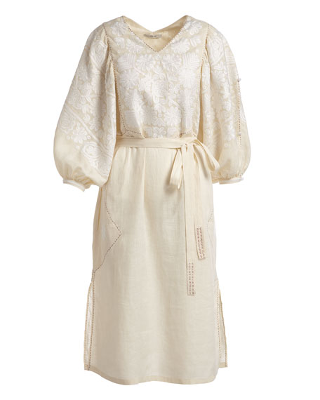 V-Neck Puff-Sleeve Embroidered Linen Midi Dress