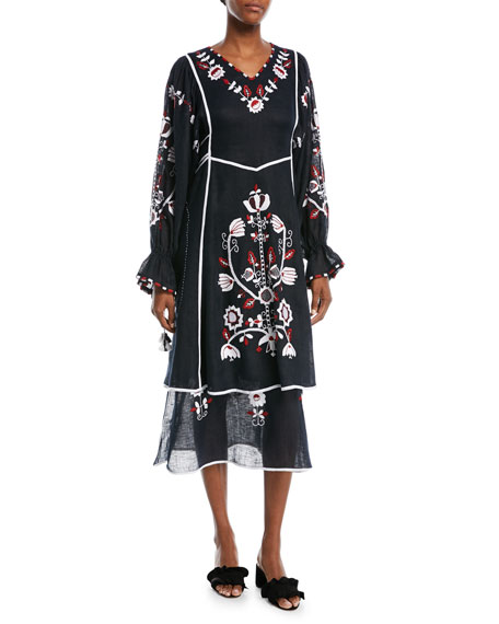 Embroidered Puff-Sleeve Midi Dress