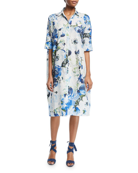 Half-Sleeve Floral Sateen Shirtdress