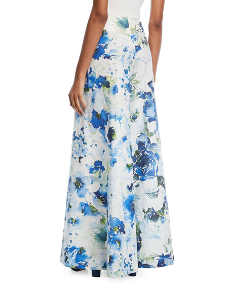 Floral Wrap-Front Wide-Leg Pants