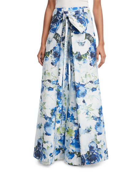 Floral Wrap-Front Wide-Leg Pants