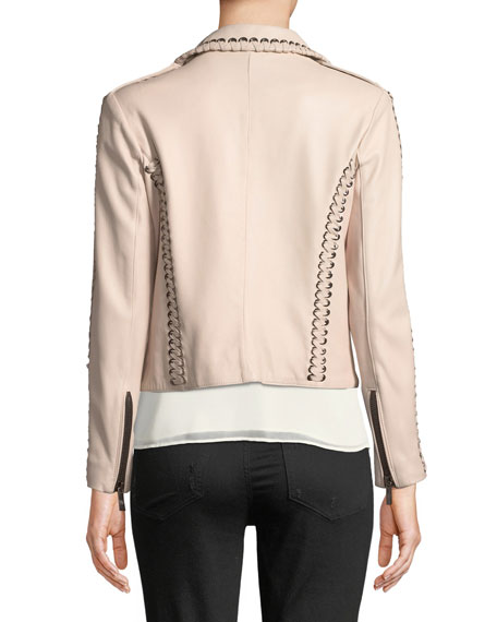 Lamb Leather Moto Jacket with Lacing