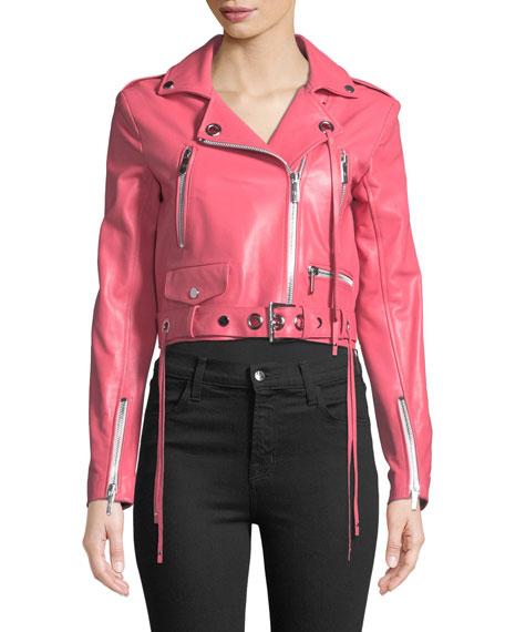 Zip-Front Belted Moto Jacket
