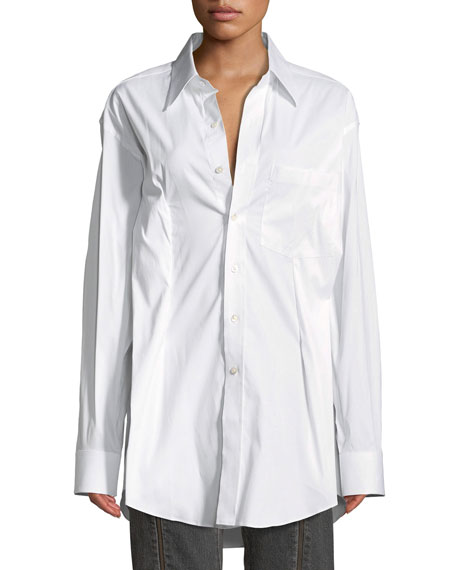 High-Low Poplin Secretary Blouse