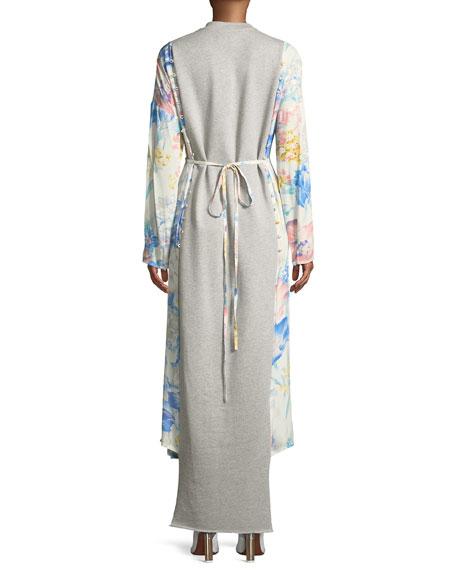 Paneled Floral Tie-Waist Midi Dress