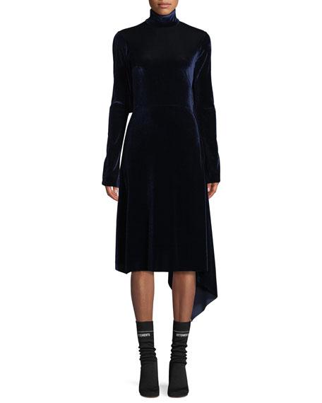 Mock-Neck Velvet Dress w/Open Back