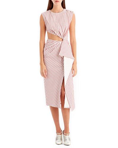 Sleeveless Striped Knot Cutout Dress