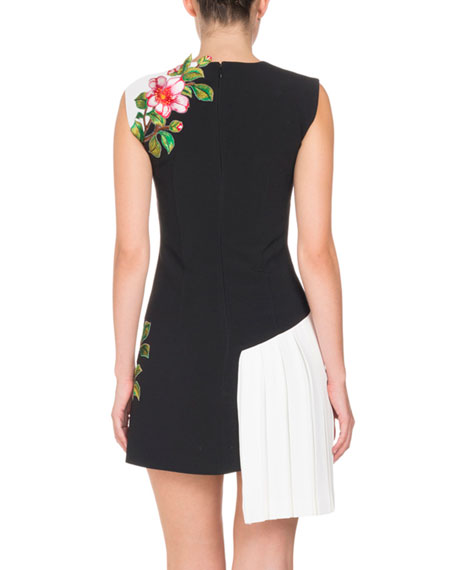 Sleeveless Floral-Embroidered Side-Pleat Dress