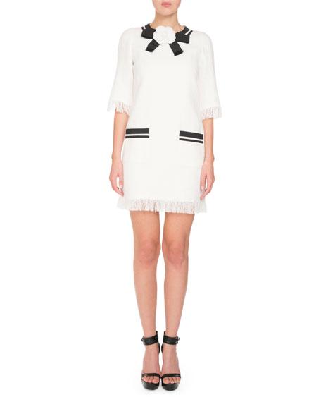 Fringed 3/4-Sleeve Linen Dress
