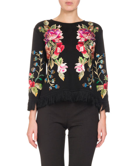 Embroidered Silk Knit Top