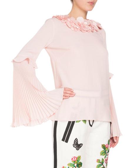 Floral-Embellished Pleat-Sleeve Blouse