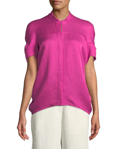Concave Short-Sleeve Draped Twill Woven Shirt