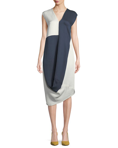 Sleeveless Colorblocked Woven Slipover Long Dress with Loop Detail