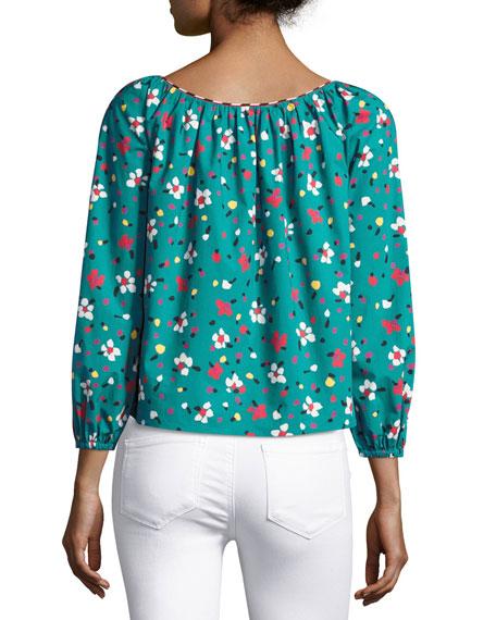 Floral-Print Long-Sleeve Peasant Blouse