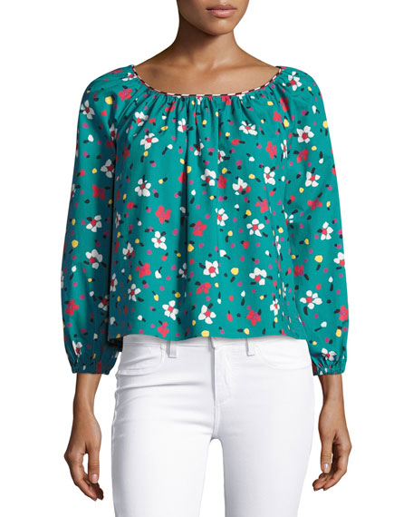 Floral-Print Long-Sleeve Peasant Blouse
