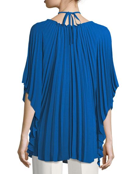 Pleated Georgette Half-Sleeve Halter Top