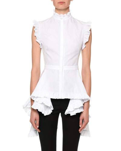 Ruffled Poplin Stand-Collar Blouse