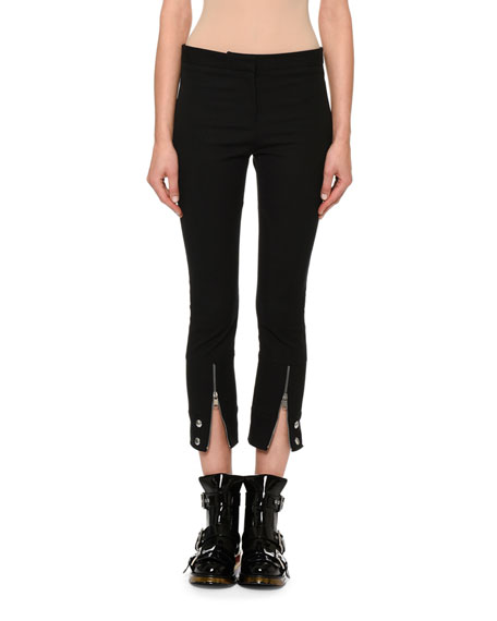 Cropped Zip-Cuff Trousers