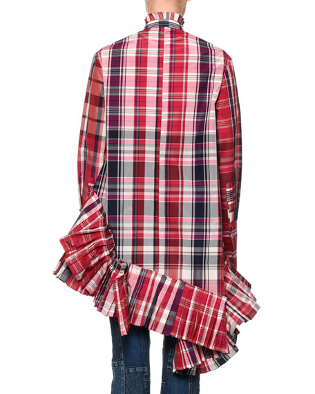 Oversized Pleated Plaid Blouse