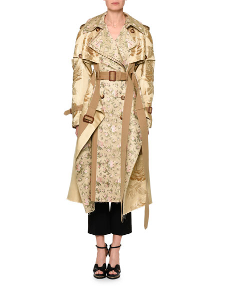 Mixed Floral Jacquard Trenchcoat