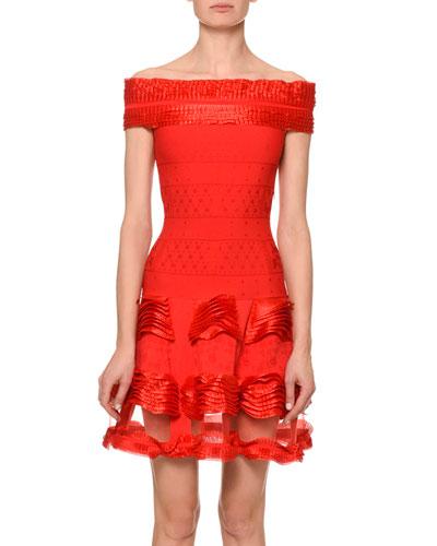 Off-Shoulder Sheer-Hem Dress