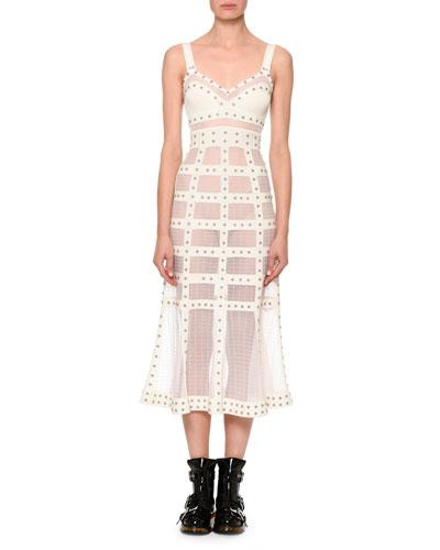 Studded Mesh-Panel Midi Dress