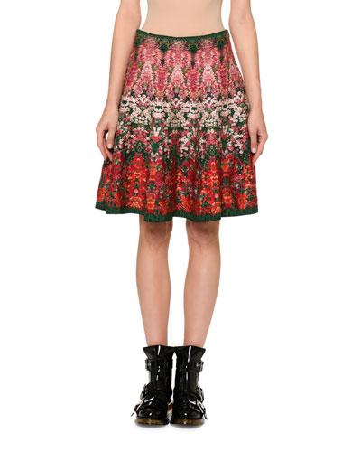 Floral Jacquard A-Line Skirt