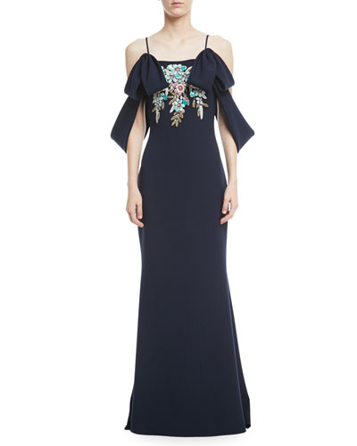 Beaded Cold-Shoulder Crepe Gown