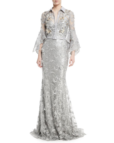 Ruffle-Sleeve Embroidered Lace Shirtwaist Gown