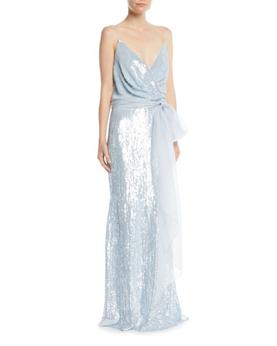 Sleeveless Draped Sequined Evening Gown w/ Chiffon Belt
