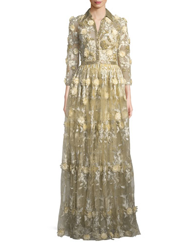 Embroidered Lace Shirtwaist Gown