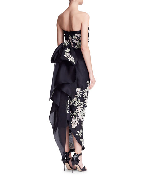 Strapless Cherry Blossom Column Gown