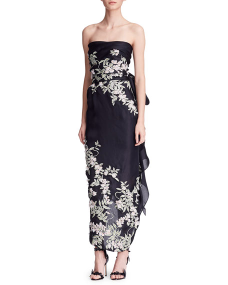 Strapless Cherry Blossom Column Gown