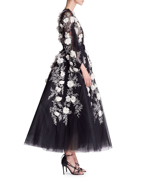 Long-Sleeve Floral-Embellished Midi Gown