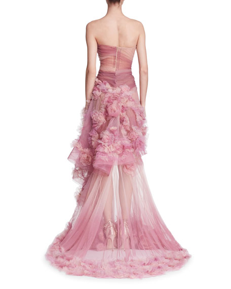 Strapless Ombre Tulle Peplum Gown