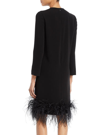 Long-Sleeve Stretch-Crepe Cocktail Dress w/ Feather Hem