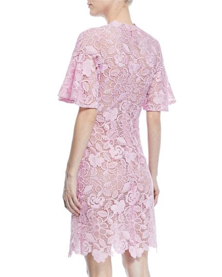 Short-Sleeve Scalloped Lace Sheath Dress