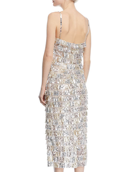 Sequined Tier-Fringe Midi Cocktail Dress
