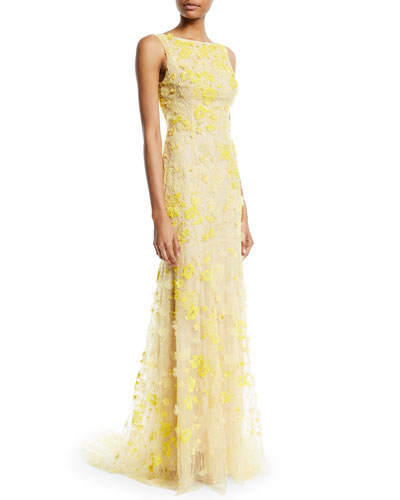 Sleeveless Floral-Embroidered Tulle Trumpet Evening Gown