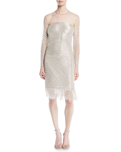 Long-Sleeve Beaded Tulle Cocktail Dress with Fringe Hem