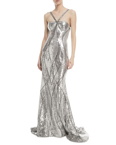 Metallic Beaded Halter Gown