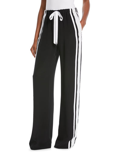 High-Waist Drawstring-Waist Stretch-Silk Pants with Side Stripe