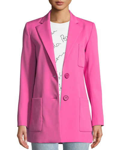 Two-Button Long Wool Blazer